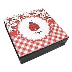 Ladybugs & Gingham Leatherette Keepsake Box - 3 Sizes (Personalized)