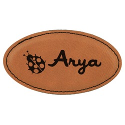 Ladybugs & Gingham Leatherette Oval Name Badge with Magnet (Personalized)