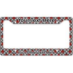 Ladybugs & Gingham License Plate Frame (Personalized)