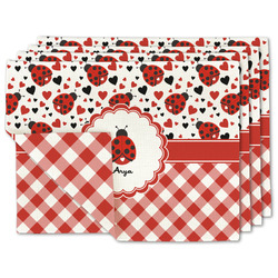 Ladybugs & Gingham Linen Placemat w/ Name or Text
