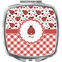 Ladybugs & Gingham Compact Makeup Mirror (Personalized)