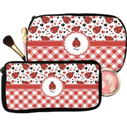 Ladybugs & Gingham Makeup / Cosmetic Bag (Personalized)
