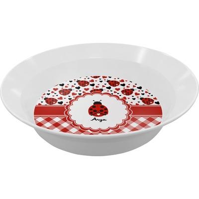 Ladybugs & Gingham Melamine Bowls (Personalized)