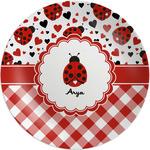 Ladybugs & Gingham Melamine Plate (Personalized)