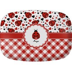 Ladybugs & Gingham Melamine Platter (Personalized)