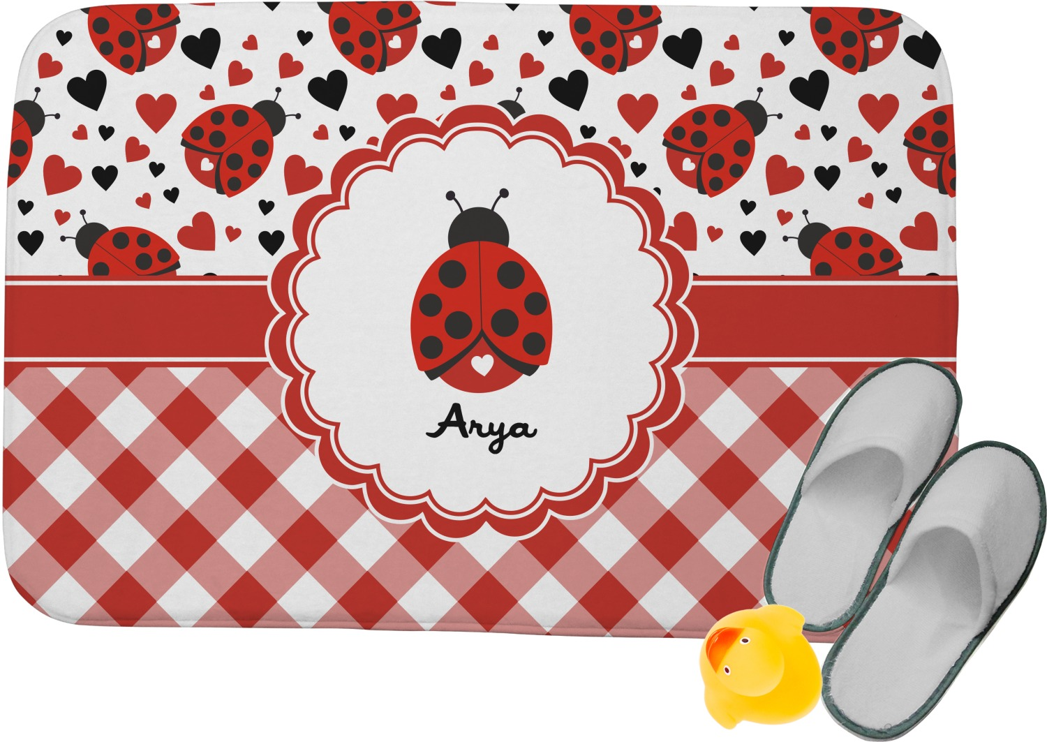 Ladybugs amp Gingham Memory Foam Bath Mat Personalized