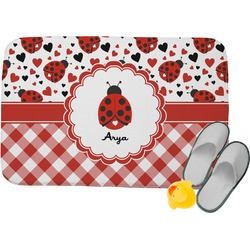 Ladybugs & Gingham Memory Foam Bath Mat (Personalized)
