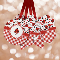 Ladybugs & Gingham Metal Ornaments - Double Sided w/ Name or Text