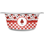Ladybugs & Gingham Stainless Steel Dog Bowl (Personalized)