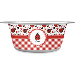 Ladybugs & Gingham Stainless Steel Pet Bowl - Medium (Personalized)