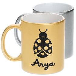 Ladybugs & Gingham Metallic Mug (Personalized)