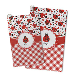 Ladybugs & Gingham Microfiber Golf Towel (Personalized)