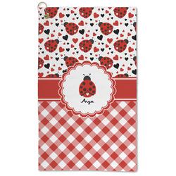 Ladybugs & Gingham Microfiber Golf Towel - Large (Personalized)