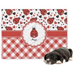 Ladybugs & Gingham Minky Dog Blanket - Regular (Personalized)