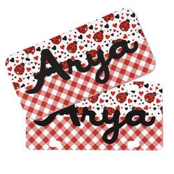 Ladybugs & Gingham Mini/Bicycle License Plates (Personalized)