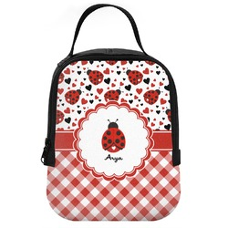Ladybugs & Gingham Neoprene Lunch Tote (Personalized)