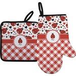 Ladybugs & Gingham Oven Mitt & Pot Holder (Personalized)
