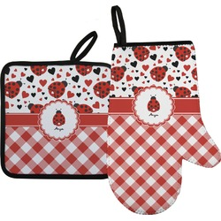 Ladybugs & Gingham Oven Mitt & Pot Holder Set w/ Name or Text