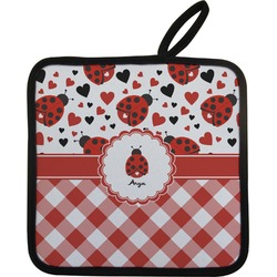 Ladybugs & Gingham Pot Holder w/ Name or Text