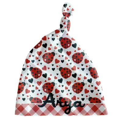 Ladybugs & Gingham Newborn Hat - Knotted (Personalized)