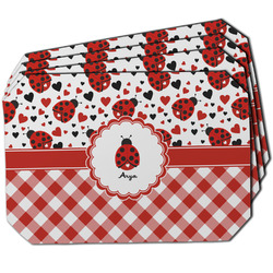 Ladybugs & Gingham Dining Table Mat - Octagon w/ Name or Text
