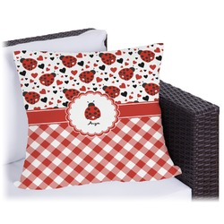 """Ladybugs & Gingham Outdoor Pillow - 18"""" (Personalized)"""