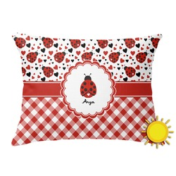 Ladybugs & Gingham Outdoor Throw Pillow (Rectangular) (Personalized)