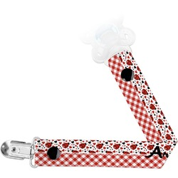 Ladybugs & Gingham Pacifier Clips (Personalized)