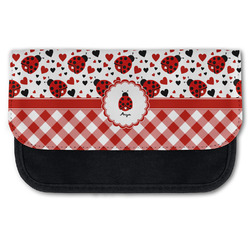 Ladybugs & Gingham Canvas Pencil Case w/ Name or Text