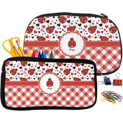 Ladybugs & Gingham Pencil / School Supplies Bag (Personalized)