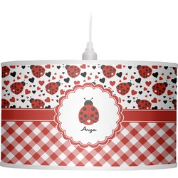 Ladybugs & Gingham Drum Pendant Lamp Linen (Personalized)
