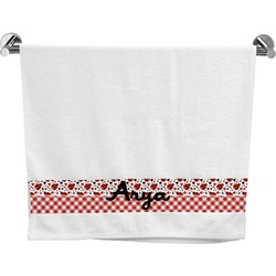 Ladybugs & Gingham Bath Towel (Personalized)