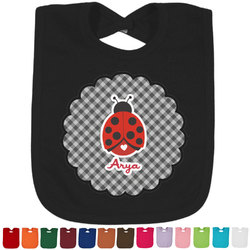 Ladybugs & Gingham Baby Bib - 14 Bib Colors (Personalized)