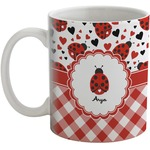 Ladybugs & Gingham Coffee Mug (Personalized)