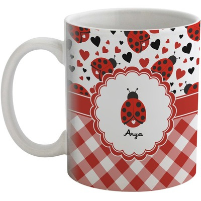 Ladybugs & Gingham Coffee Mug (Personalized)