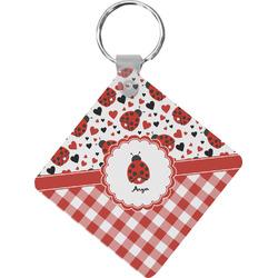Ladybugs & Gingham Diamond Key Chain (Personalized)