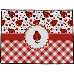 Ladybugs & Gingham Door Mat (Personalized)