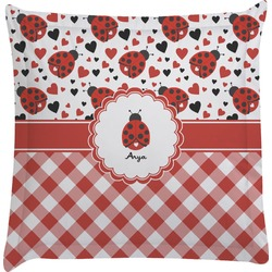 Ladybugs & Gingham Euro Sham Pillow Case (Personalized)