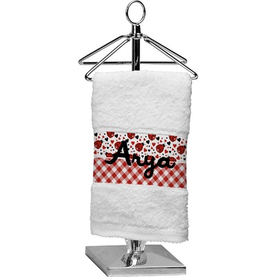Ladybugs & Gingham Finger Tip Towel (Personalized)