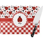 "Ladybugs & Gingham Rectangular Glass Cutting Board - Large - 15""x12"" (Personalized)"