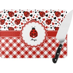 Ladybugs & Gingham Rectangular Glass Cutting Board (Personalized)