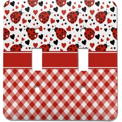 Ladybugs & Gingham Light Switch Cover (2 Toggle Plate) (Personalized)