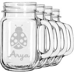 Ladybugs & Gingham Mason Jar Mugs (Set of 4) (Personalized)