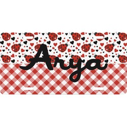 Ladybugs & Gingham Front License Plate (Personalized)
