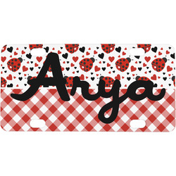 Ladybugs & Gingham Mini / Bicycle License Plate (Personalized)
