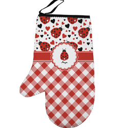 Ladybugs & Gingham Left Oven Mitt (Personalized)
