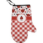 Ladybugs & Gingham Right Oven Mitt (Personalized)