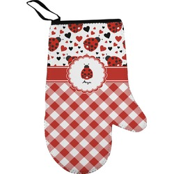 Ladybugs & Gingham Oven Mitt (Personalized)