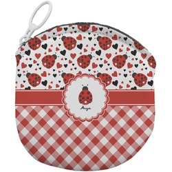 Ladybugs & Gingham Round Coin Purse (Personalized)