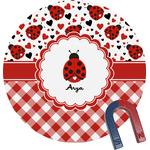 Ladybugs & Gingham Round Magnet (Personalized)